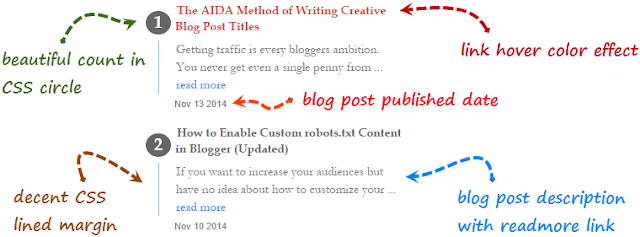 Recent posts widget for blogspot