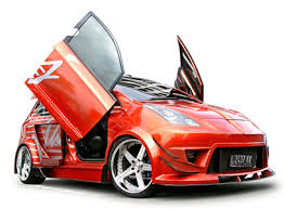 Mobil Honda Jazz Modifikasi merah pintu