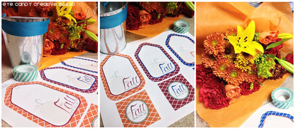 printed fall tags, free fall gift tag download, cut out gift tags, flowers