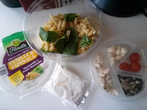 Ingredientes Ensalada Fusilli y Espinaca Florette