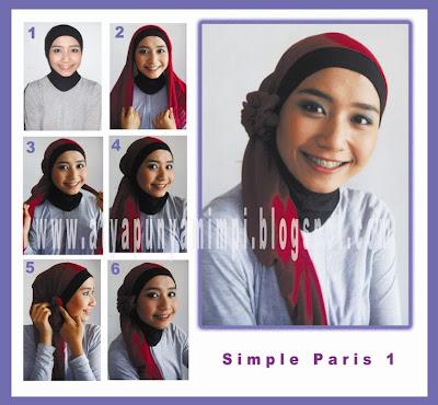 Cara Memakai Jilbab Paris Simple 1