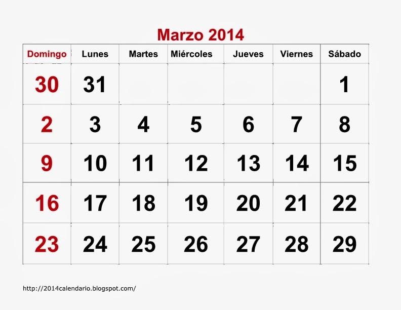plantilla calendario marzo 2014 presentación preliminar de calendario