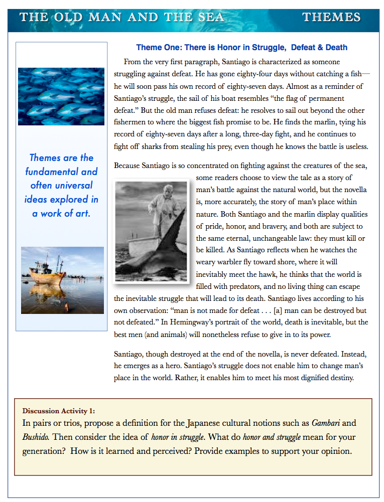 the old man and the sea an example of the typical hemingway essay