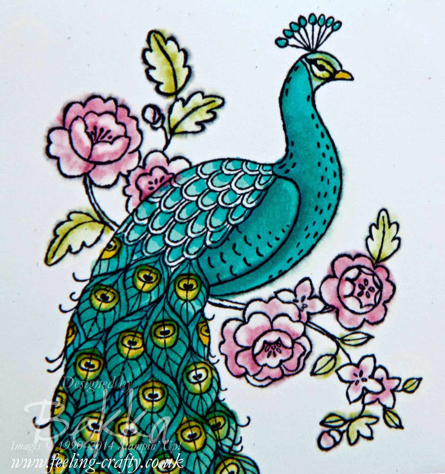 Perfect Peacock Card by Stampin' Up! UK Independent Demonstrator Bekka Prideaux