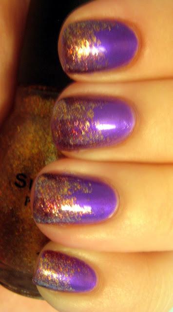 "Purple and Bronze Gold Glitter Nails"" title="