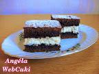 Kakaós túrós szelet, egy kevés reszelt citromhéjjal ízesített túrós töltelék + kakaós tésztalap = finom sütemény.