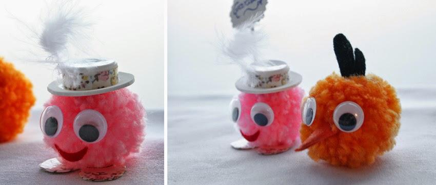 Como hacer muñecos con pompones de lana - Manualidad2