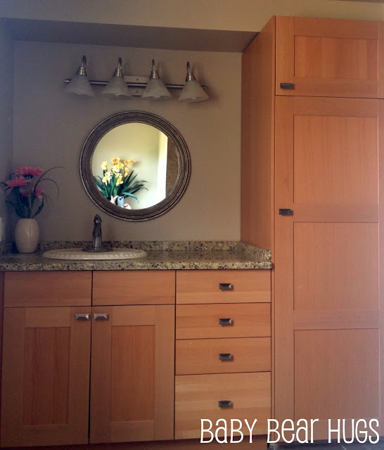 Ikea kitchen made into 39 custom 39 bathroom vanity get home for What are ikea kitchen cabinets made of