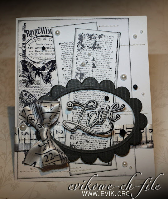 Clear Stamps Kaisercraft, Windsor, LOVE, Black &  White