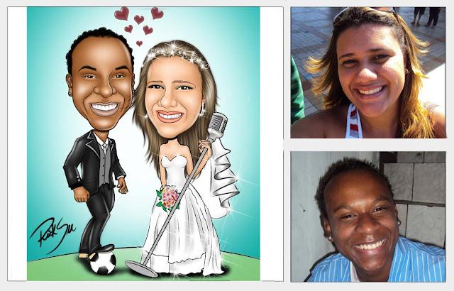 caricatura com o noivo com a bola no pé e a noiva cantora