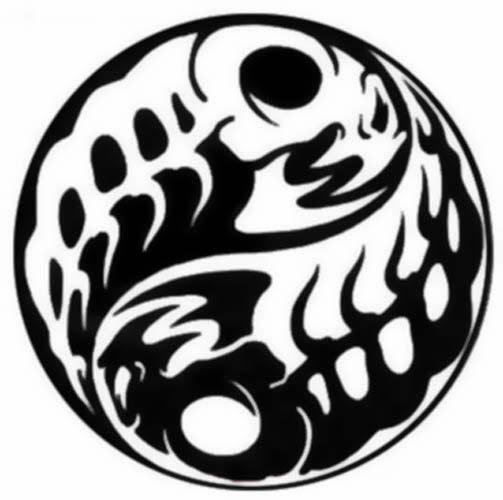 Yin Yang fishes skeleton tattoo stencil