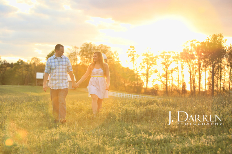 North Carolina Engagement Photography in a field with sunset