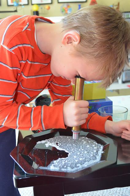 examining salt crystals with a Brock Magiscope