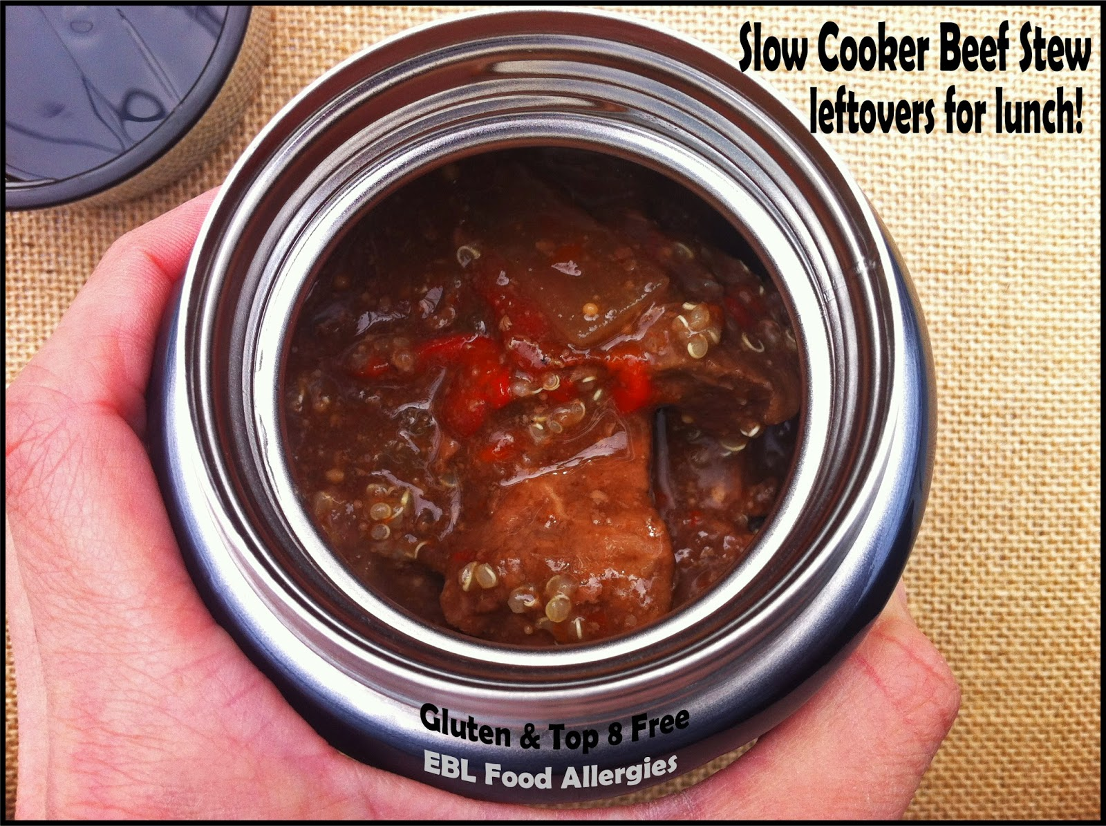 EBL Food Allergies: Slow Cooker Beef Stew leftover for lunch! Kid's Lunch