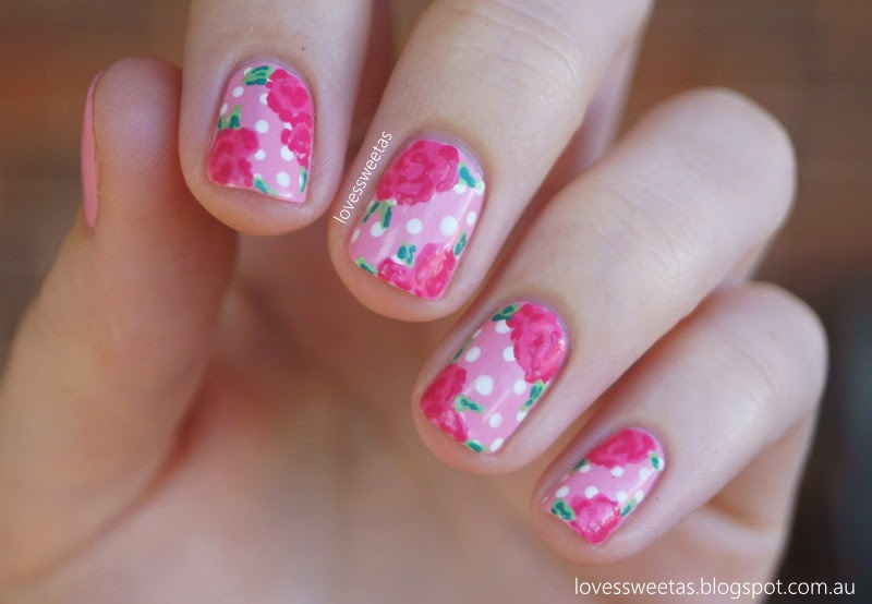 love\'s sweet as: Mother\'s Day Nail Art - Pink Roses and Polka Dots