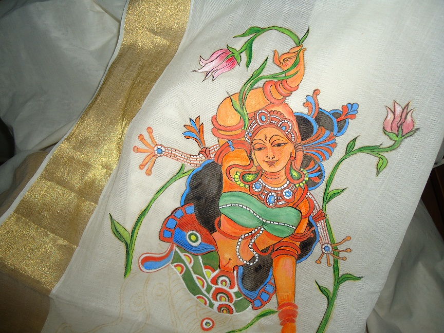 my talent mural painting on saree