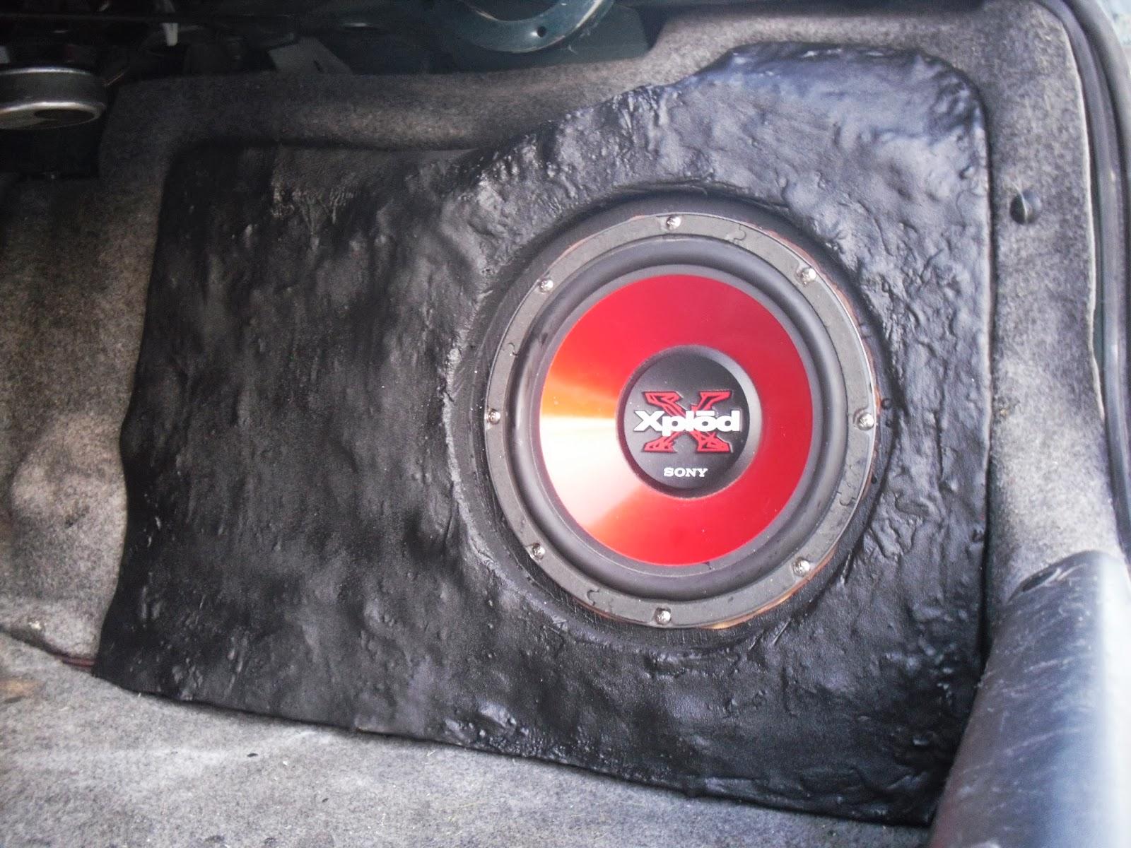 My Fiberglass Car Subwoofer Install Aka The Bass Boulder After Alpha Wiring Speakers