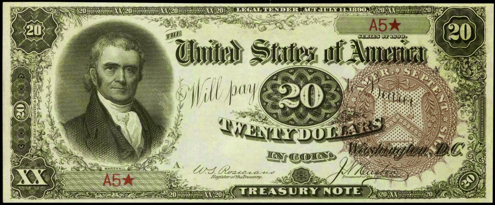 20 Dollar bill Treasury or Coin Note 1890
