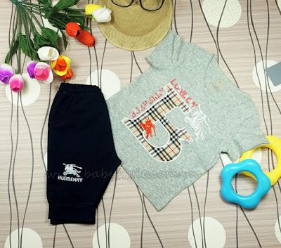 Bộ Burberry dành cho bé Nam màu xám - Babystyle.com.vn