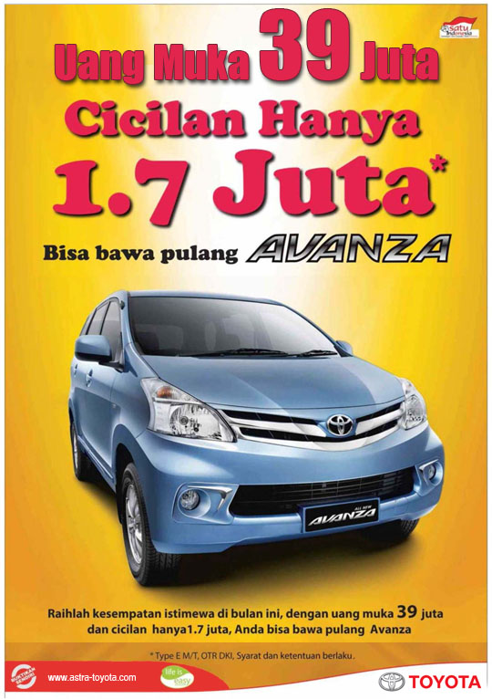 Toyota Avanza Uang Muka 39 Juta Cicilan 1,7 Juta