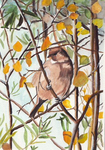 Bird in a tree painting - photo#23