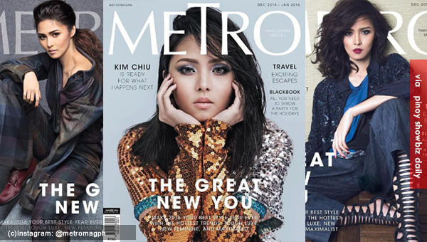 Kim Chiu appears in three cover of Metro Magazine December 2015 issue