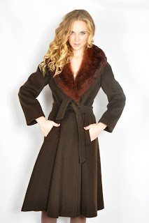 Vintage 1970's brown wool princess coat with fur collar.