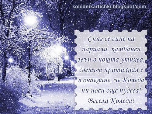 Сняг се сипе на парцали, камбанен звън в нощта утихва, светът притихнал е в очакване, че Коледа ни носи още чудеса! Весела Коледа!