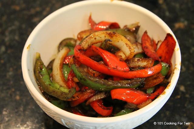 Yummy carmalized veggies Chicken Carnitas