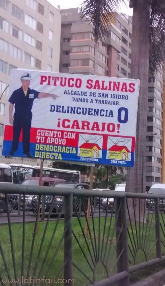 PUBLICIDAD PARA LAS ELECCIONES ELECTORALES 2014 - PITUCO SALINAS - DELINCUENCIA 0 - DEMOCRACIA DIRECTA FOTOS GRACIOSAS DE ALCALDES Y CAMPAÑA POLITICA