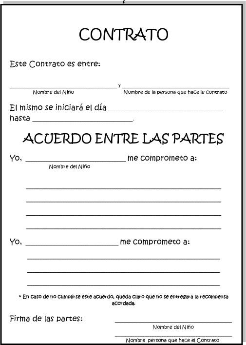La clase de natalia contrato conductual para ni s for Contrato documento