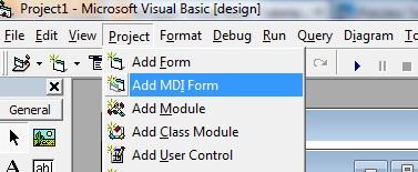 add MDI parent form in VB6 IDE