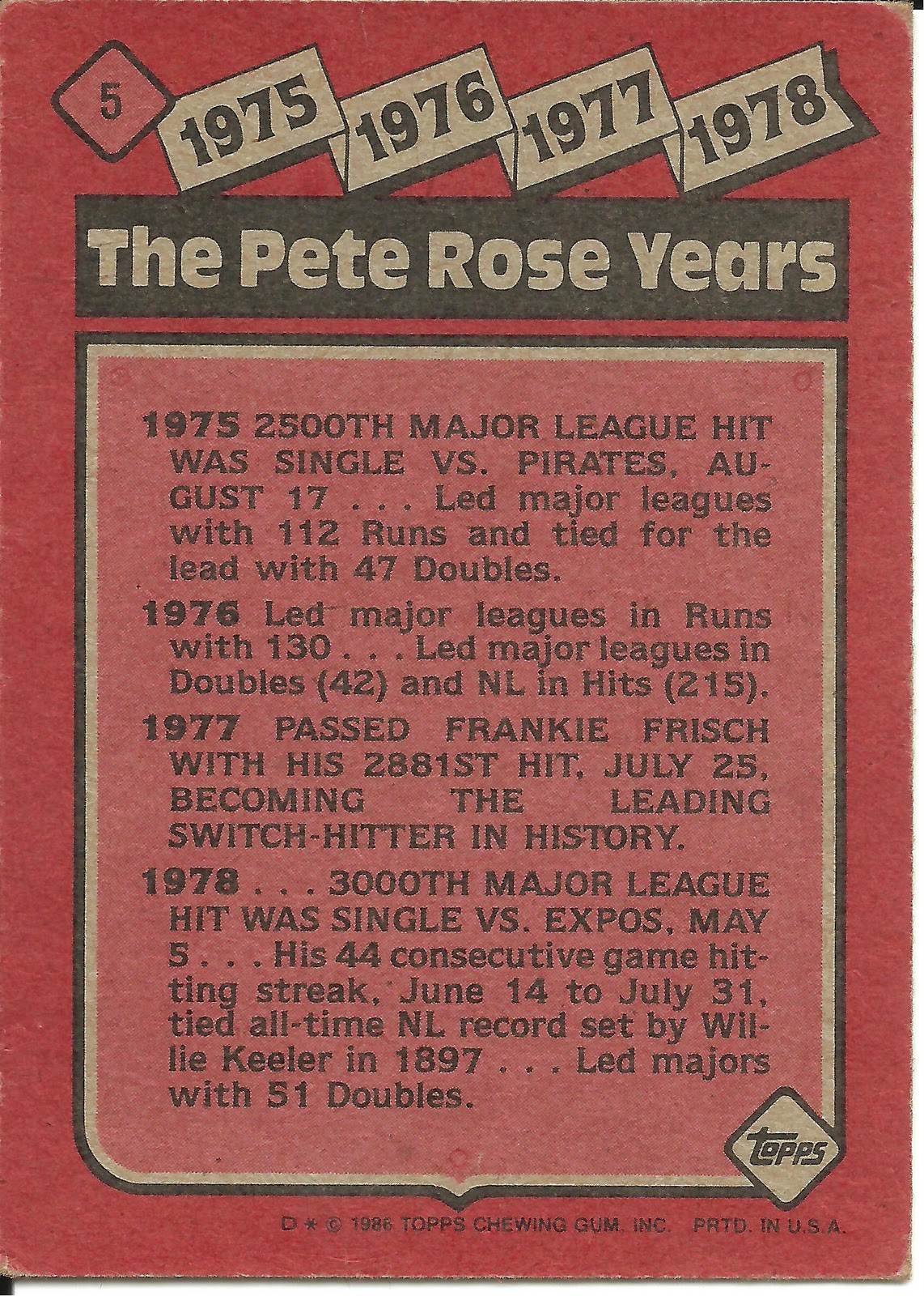 1986 Topps Blog 5 The Pete Rose Years 1975 1978