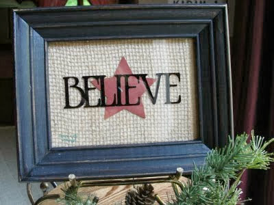 Believe, Christmas, Holiday, holidays, burlap