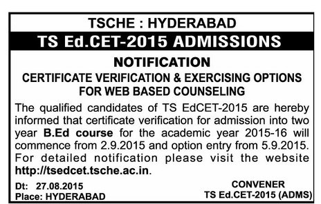 TSEdCet 2015,TS EdCet 2015 web Counselling,Telangana Ed.Cet 2015 Certificate Verification Dates,Web Options,Seat Allotment Order Download,Schedule