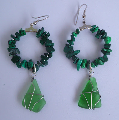 Handmade malachite and green seaglass hoop earrings