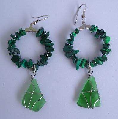Handmade malachite and green seaglass hoop earrings