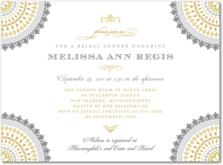 Gray and yellow wedding shower invitations