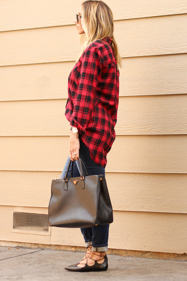 plaid tunic top skinny jeans