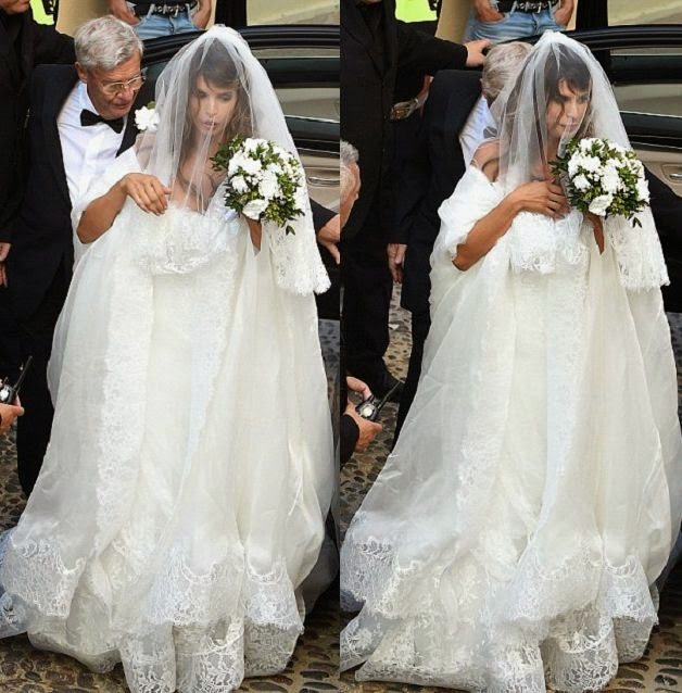 Elisabetta Canalis and new husband, Brian Perri had their wedding ceremony at the Sassari Cathedral in Sardinia, Italy, on Sunday, September 14, 2014.