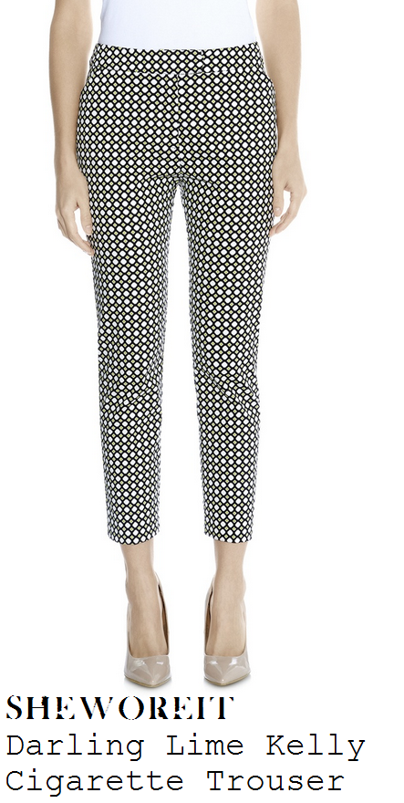 lucy-mecklenburgh-lime-green-black-and-white-graphic-tile-diamond-print-tailored-cigarette-trousers-lucys-boutique