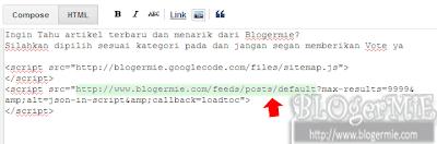 cara pasang sitemap di halaman posting