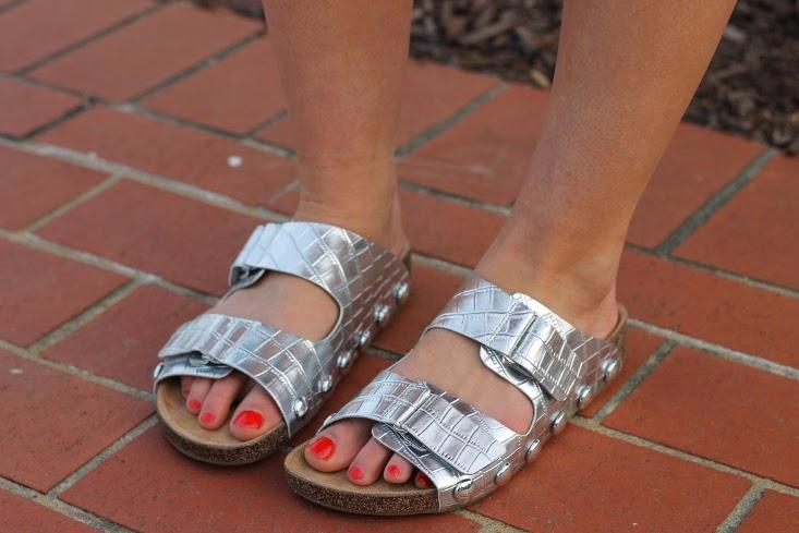 Silver Metallic Birkenstock Lookalike Sandals