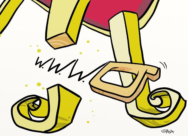 gavavenezia gava satira vignette illustrazione caricatura gambaro grillo rete poltrona sega