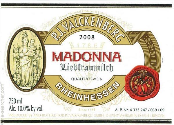 P. J. Valckenberg酒莊根據修道院裡的聖母瑪利亞雕像,將自己的聖母之乳葡萄酒命名為瑪丹娜聖母之乳(Liebfrauenmilch Madonna)