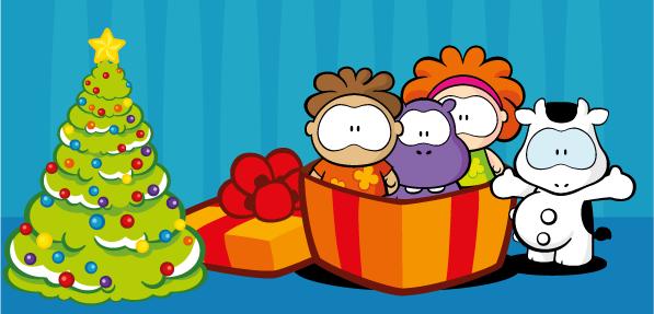 Navidad con Cowco y sus amigos - vector