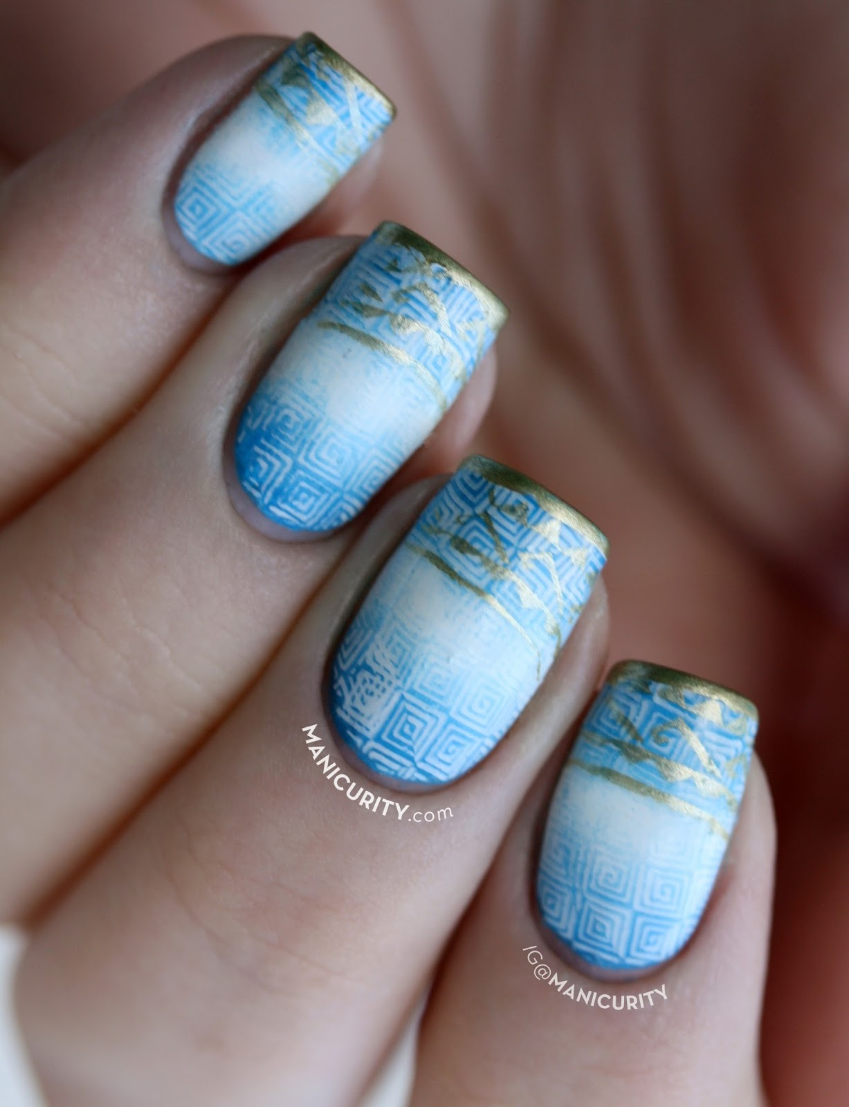 Manicurity.com | It's All Greek to Me! Double-Stamped Nails inspired by the Percy Jackson book series