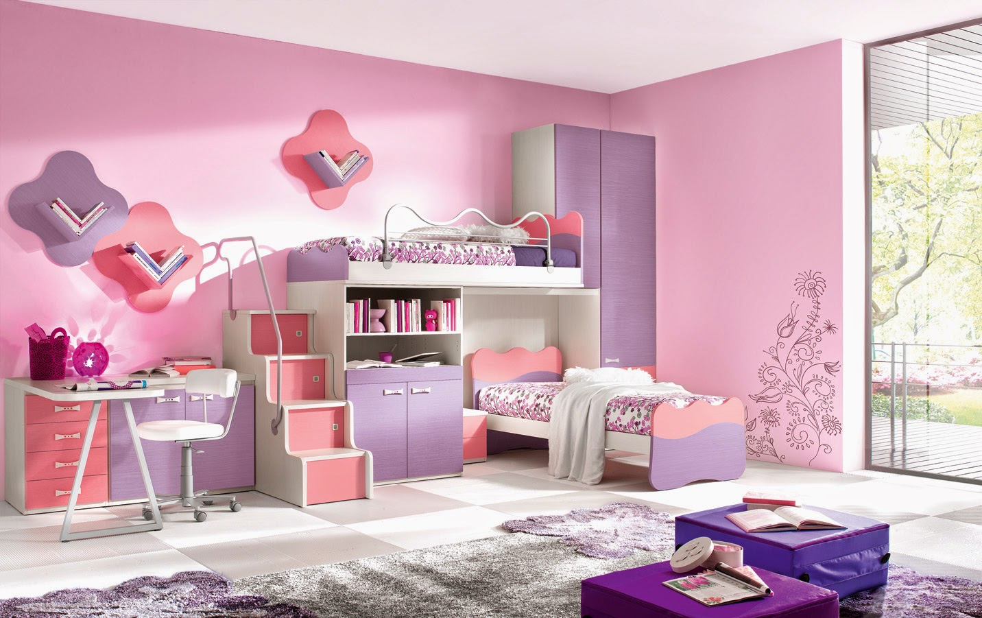desain interior kamar anak perempuan hello kitty sederhana