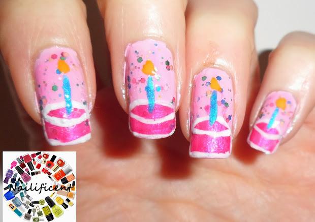 nailificent birthday cake nail
