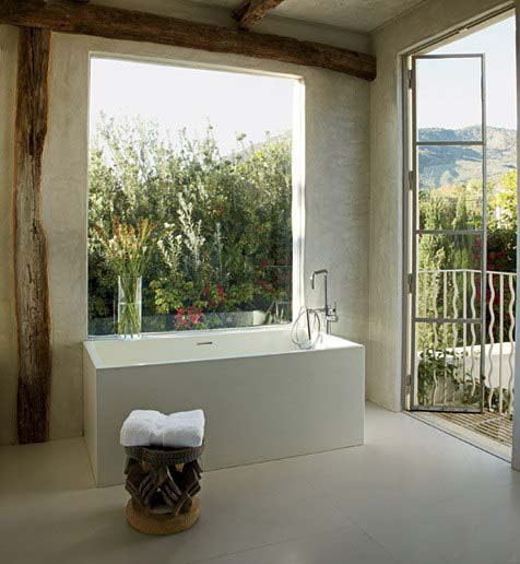 Bathing room open to garden and ocean view in Malibu, Richard Shapiro residence, image via Architectural Digest, as seen on linenandlavender.net